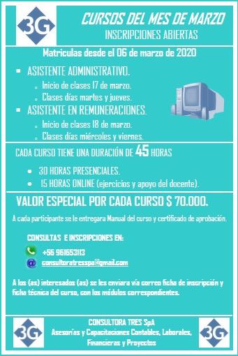 Cursos del mes de Marzo: Asistente Administrativo y Asistente en Remuneraciones