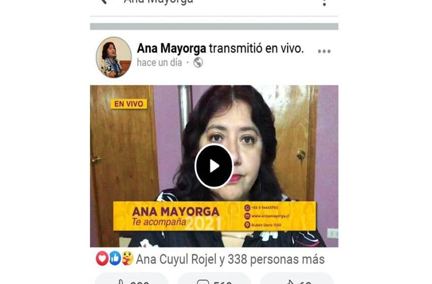 Contradictorias declaraciones emitió en su programa de Facebook Live la candidata a la alcaldía de Natales Ana Mayorga