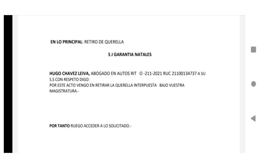 Retiran querella en contra de Antonieta Oyarzo Alvarado