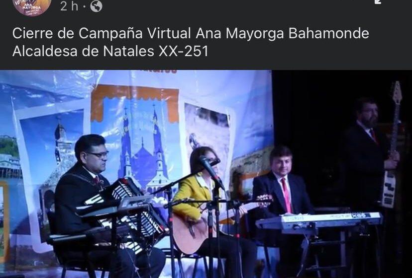 Candidatura de Ana Mayorga incluyó a conocido grupo musical de Natales con imagen sin autorización en cierre virtual de su campaña
