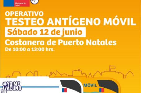 Este sábado efectuarán operativo  «Antígeno móvil»  en Natales